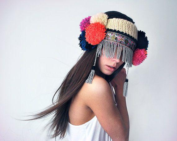 ethnic pom pom ear warmer....headdress