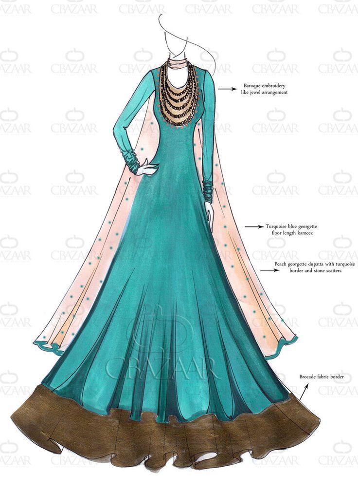 Buy latest DIY Turquoise Blue Floor Length Anarkali online from the wide range of Salwar Kameez at Cbazaar.com, Turquoise   Salwar Kameez is the new trend in the market. Shop online Designer Salwar Suits and get exciting deals on Indian salwar kameez. SLCDCW1962