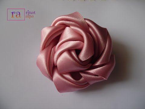 ✿DIY satin ribbon rose flowers 11✿تزيين جهاز العروسة:طريقة صنع وردة جميلة من شرائط الستان - YouTube