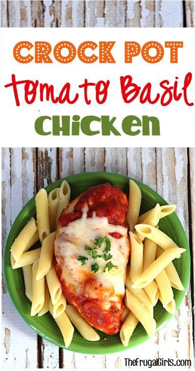 Crockpot Tomato Basil Chicken Recipe! ~ from TheFrugalGirls.com ~ this EASY Italian Crockpot Dinner can't be beat... the flavors of the sauce combined with fresh Garlic, herbs, and ooey-gooey cheese sends it over the top! Simple and SO delicious!! #slowcooker #recipes #thefrugalgirls