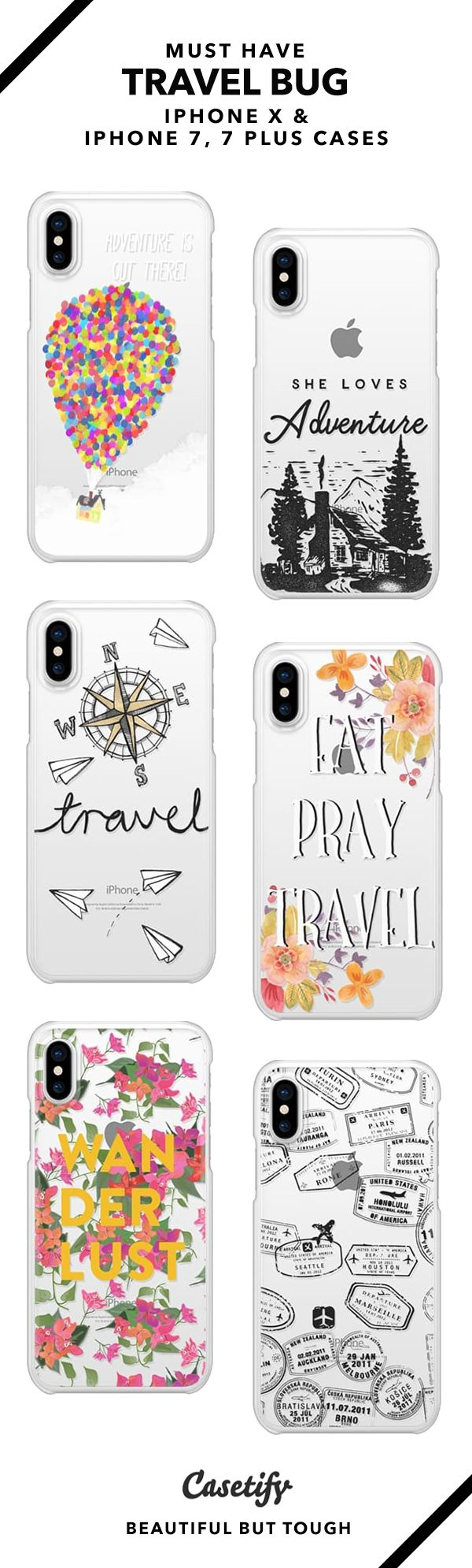 35 Must Have Travel Bug iPhone X, iPhone 7 Cases and iPhone 7 Plus Cases.  Shop them here ☝️☝️☝️ BEAUTIFUL BUT TOUGH ✨ - travel, wanderlust, map, floral
