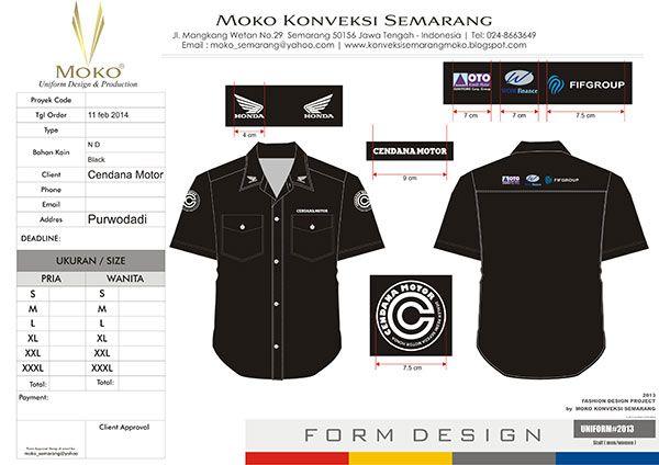 Baju Seragam Model Trans TV Dealer Honda Cenadana Motor, Purwodadi - Jawa Tengah - Indonesia. Baju Kemeja Kerja Warna Hitam Polos + Bordir Logo Perusahaan.