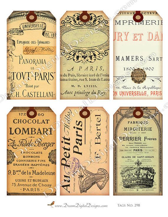 Printable French Ephemera Paris Gift Tags by DreamDigitalDesigns