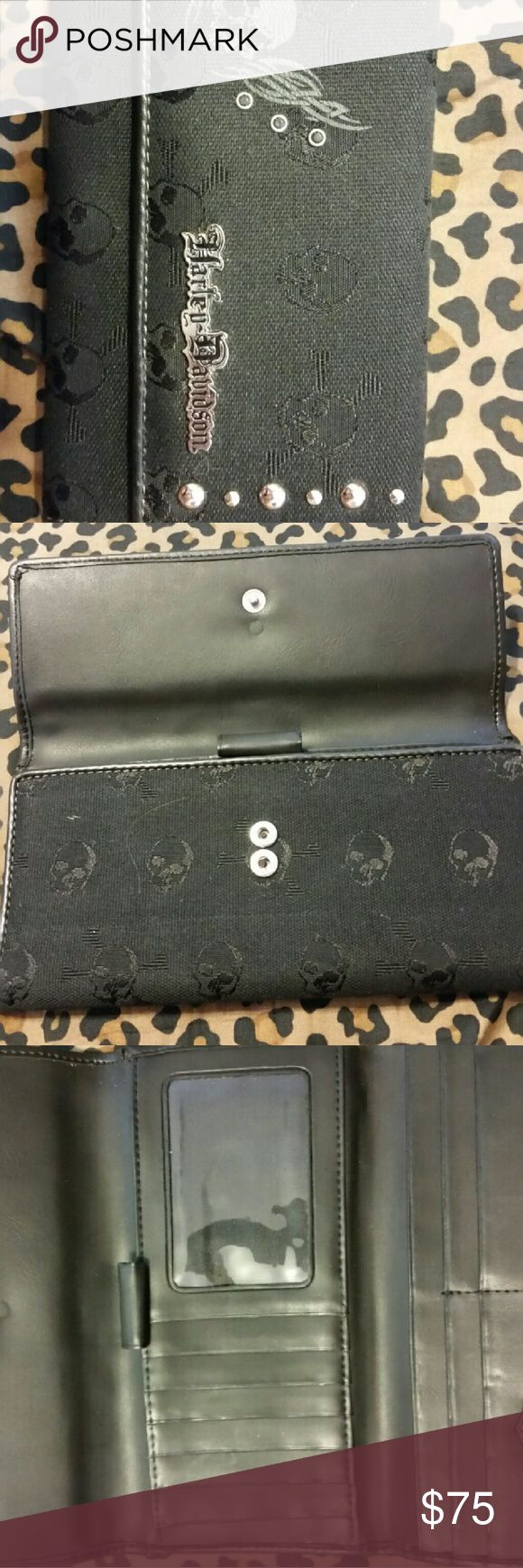 AUTHENTIC HARLEY DAVIDSON STUDDED WALLET!!!! Purchased at the Harley Davidson of Huntington Beach, CA! NEVER USED!!!! GENUINE LEATHER inside of black Trifold snap closure wallet with skull designs and circled studs on left and right of front of wallet. Skull print throughout. Harley-Davidson Bags Wallets