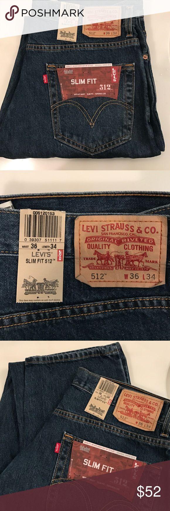 Levi's jeans slim fit tapered Levi's slim fit 512 jeans. 36 x 34. Sits at waist, slim fit, tapered leg. NWT - never worn. Levi's Jeans Slim
