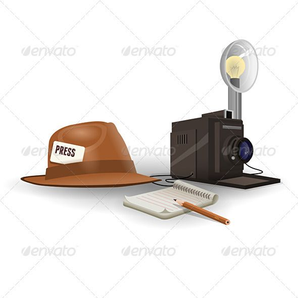 Isolated Paparazzi Equipment  #GraphicRiver         Vintage paparazzi hat camera and notepade on white background     Created: 31October11 GraphicsFil…
