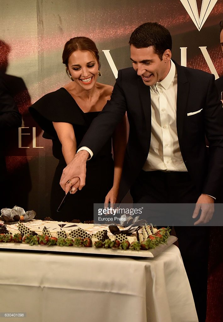 Miguel Angel Silvestre and Paula Echevarria attend the party for the series final of 'Galerias Velvet' at Continental hotel on December 21, 2016 in Madrid, Spain.