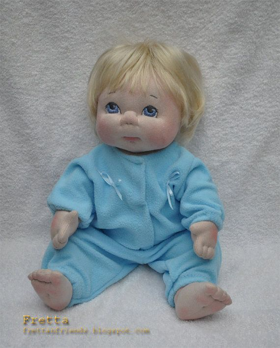 Textile Baby Doll Blonde / Blue Eyes. 40.6 by FrettasLovableDolls, $160.00