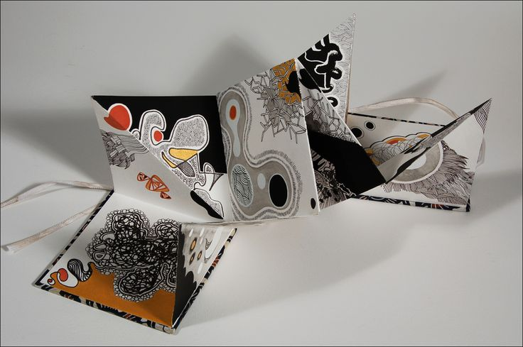 'Accordion Book Dream Diary IV'. By Peter D. Gerakaris. 5.5 x 5.5 inches (when closed). Dimensions variable when open. Pen, ink, gouache and gold paint on watercolor paper.