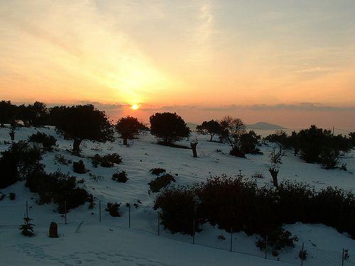 snowy sunset from Greek island study