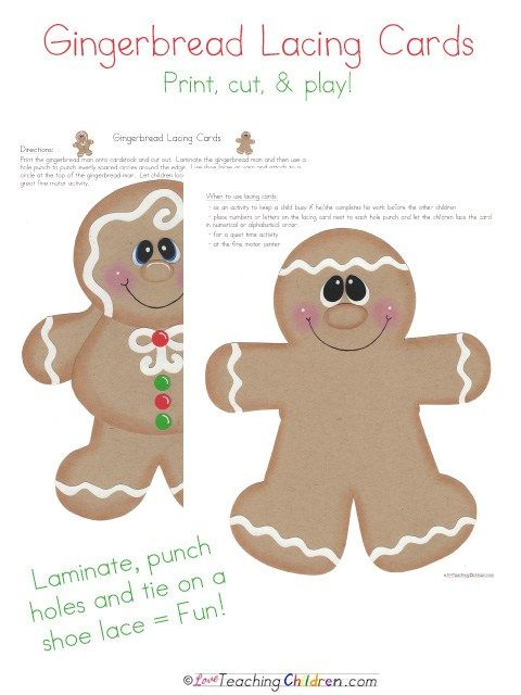 Adorable, free gingerbread lacing cards.  I can't wait to use these in my class!