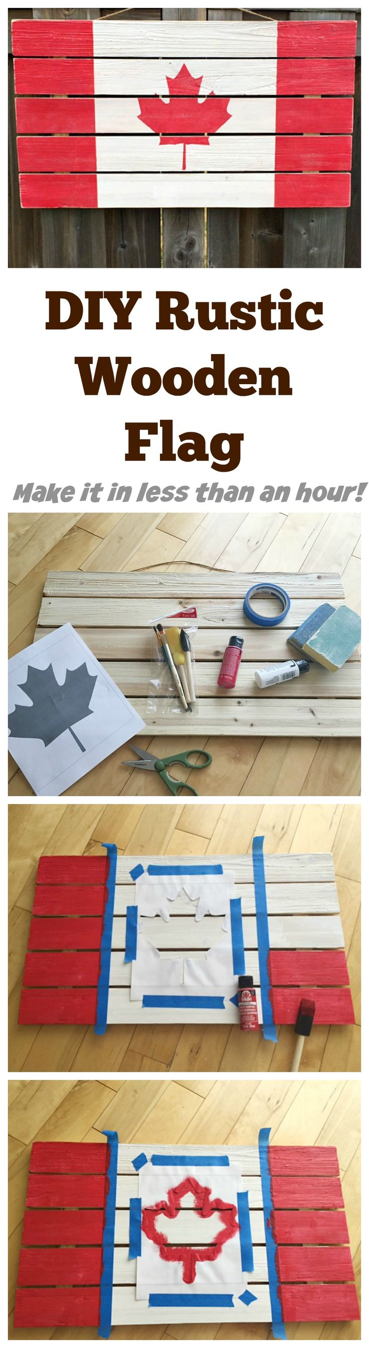 DIY Rustic Wooden Flag - Family Food And Travel