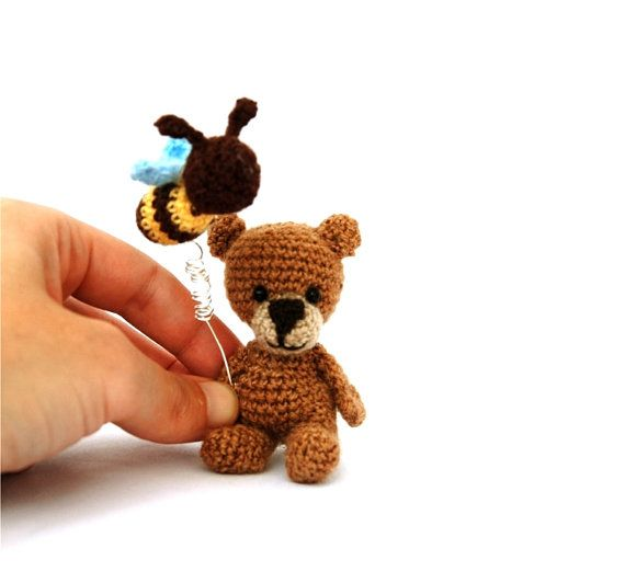 funny bear cought the bee miniature bear от tinyworldbycrochAndi, $19.86