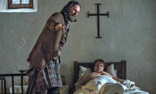 ♥Jamie's godfather -Murtagh is giving him a wee little pep talk in the Abbey of St. Anne de Beaupre, France.. S1-16