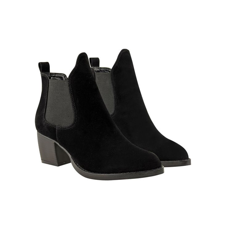 Black Suede Pointed Chelsea Ankle High Chunky Cuban Heel Boots - Brisbane https://ladieshighheelshoes.blogspot.com/2016/10/womens-shoes.html