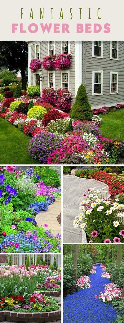 203 best images about 1 garden bed ideas on pinterest for Flower ideas for front yard