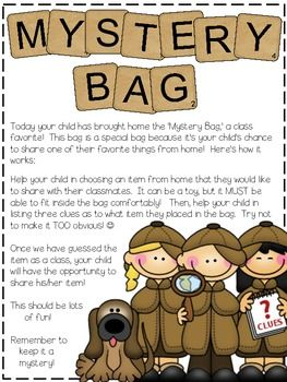This is a great take-home-bag that adds a fun and unique twist to 'share time!'  My kiddos LOVE getting to take home the Mystery Bag!**Update 7/15: Added an addition page/version for my Aussie/Canadian friends! For more freebies, classroom ideas, and fun visit me at my blog.Beg, Borrow, StealThanks!Kelly