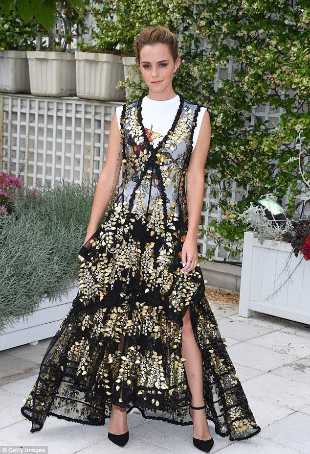 Standing out: The Beauty and The Beast star, 27, stunned in a chic Louis Vuitton gown, proving her unique style