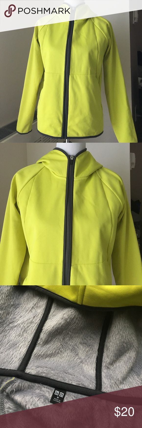 Uniqlo Women's Wind Block Hoodie Jacket Yellow M This is a yellow Uniqlo jacket with a warm fuzzy fleece lining, hooded, two side pockets, zip up. It's the Wind Block Sweat Hoodie style. Size M women's. Clean and no marks or flaws, only worn a couple times, washed on delicate. Uniqlo Jackets & Coats