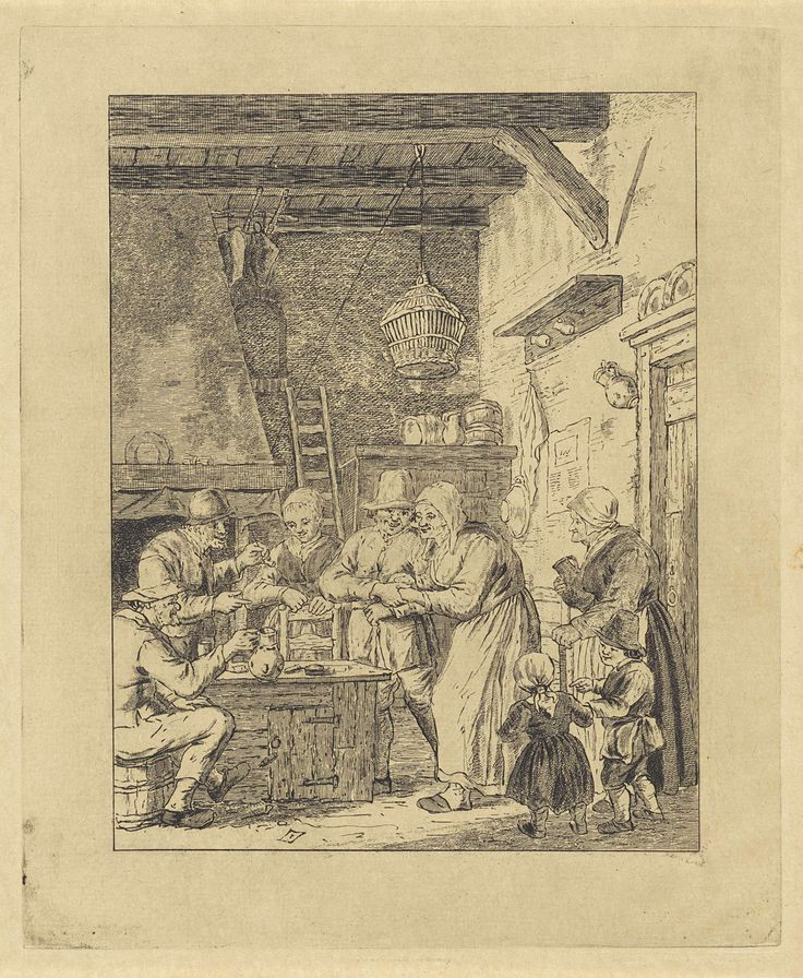 Nicolaas van der Worm   Gezelschap in een interieur, Nicolaas van der Worm, Christina Chalon, 1772 - 1828   Een groep mensen van verschillende leeftijden heeft zich rond een tafel in een eenvoudig interieur verzameld. Enkelen van hen houden een kruik of een pijp vast.