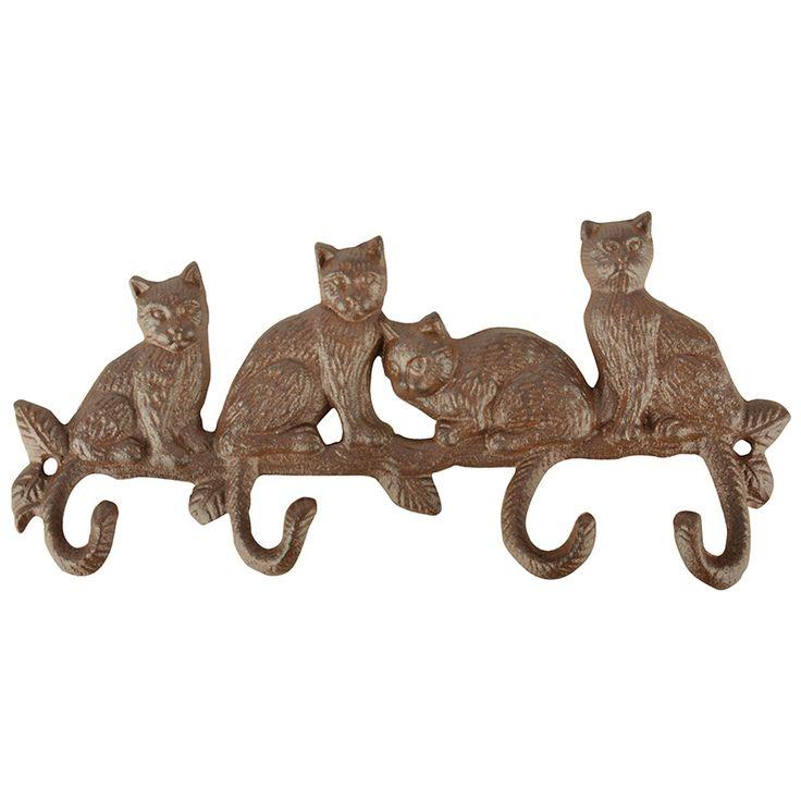 Ötletesen kialakított, cica mintás akasztó négy kampóval.