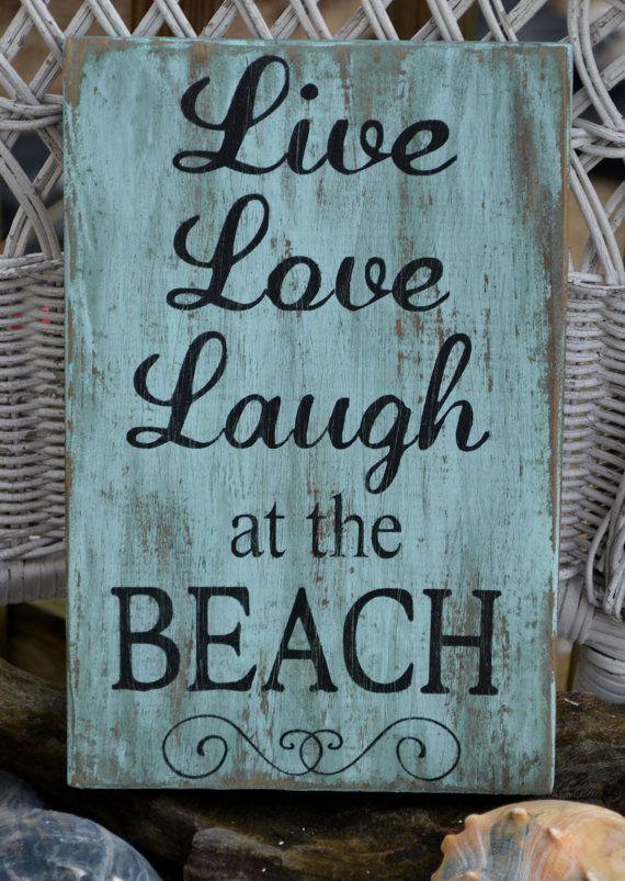 Beach Decor, Beach Sign, Beach Theme, Live Love Laugh at the Beach, Coastal Decor, Beach Home, Wood Sign, Rustic, Sea Green
