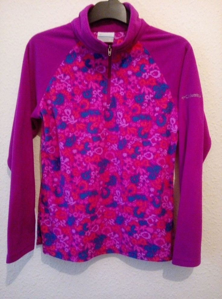BNWOT Columbia Fleece Top Retro Print Look Pink Cerise 3/4 Zip Outdoor Hiking L