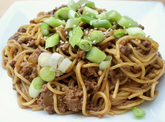 Tired of using ground beef the same old way? Try this spicy dish! Feel free to double the sauce if you like it really saucy! Update: the hoisin sauce is quite sweet, so you might start off with just a little and work your way up!