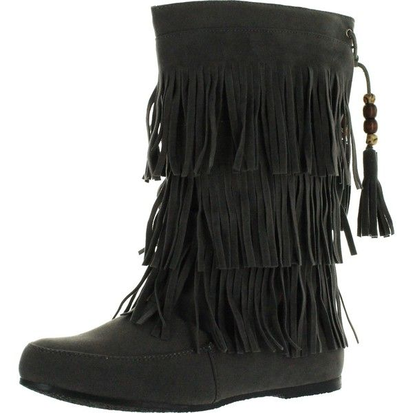 West Blvd Womens Lima Moccasin Boots 3-Layer Fringe Tribal Indian... ($42) ❤ liked on Polyvore featuring shoes, tribal print shoes, indian shoes, tribal shoes, faux suede shoes and indian footwear