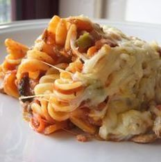 Crockpot pizza casserole.