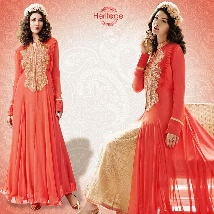 Georgette Floor Length Flaired Salwar Kameez In Peach