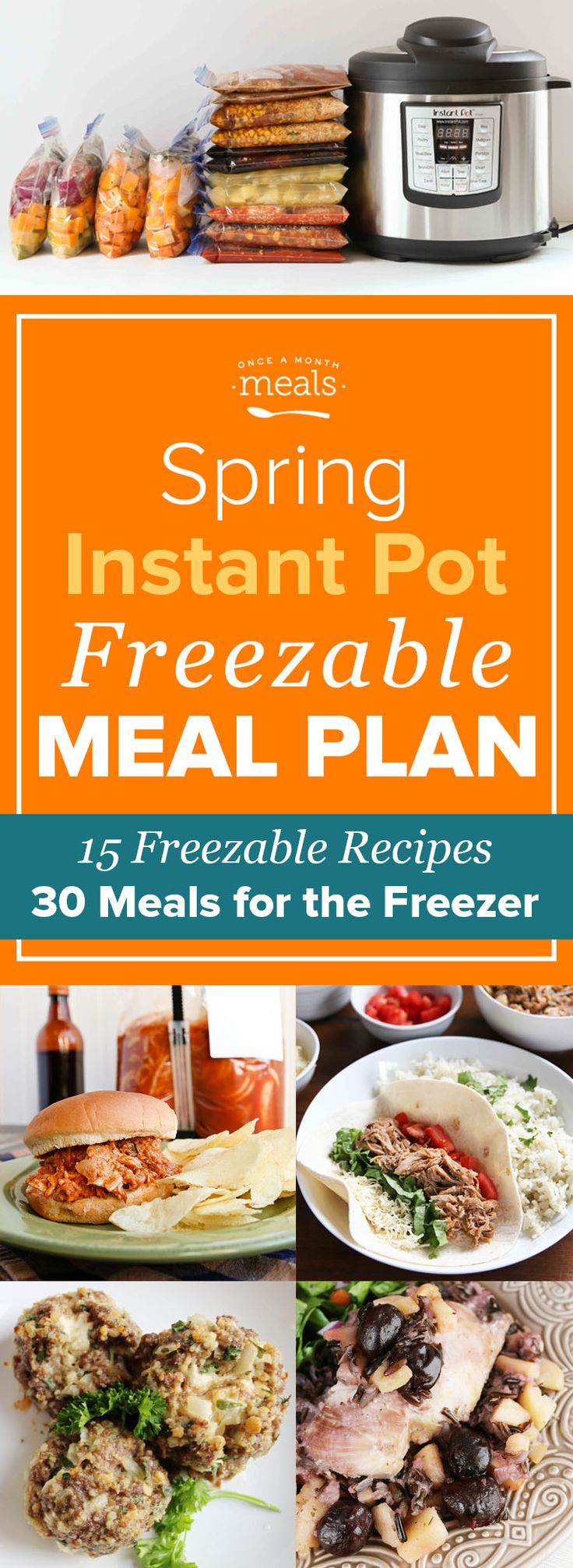 Fill your freezer with meals you can fix at a moment's notice with this Spring Instant Pot Freezer Menu! Creamy Tomato Soup, Cheese-Filled Meatballs, and Spicy Honey Chicken are just a sampling of the satisfying freezer recipes on this super easy menu.
