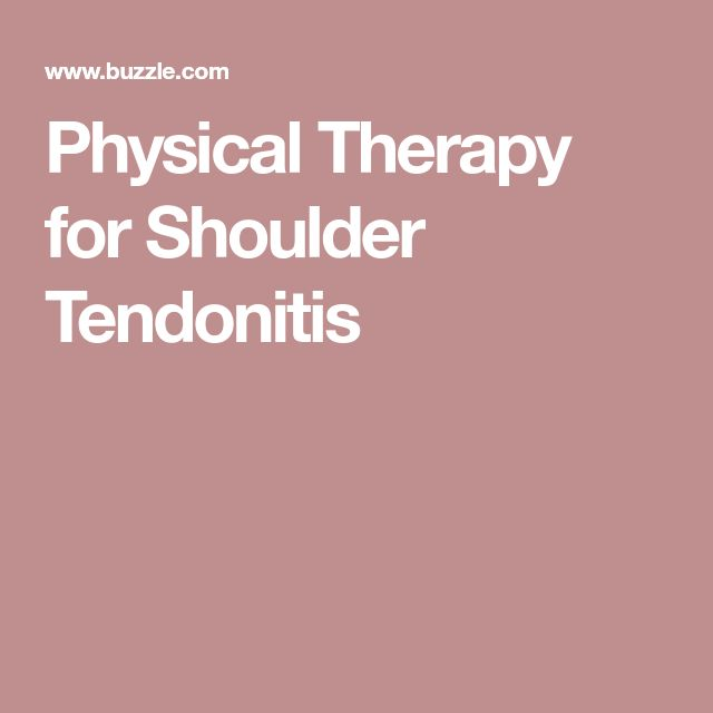 Physical Therapy for Shoulder Tendonitis