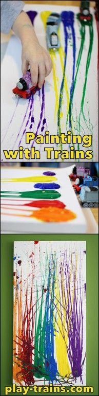 Painting with Toy Trains on Canvas - Play Trains!