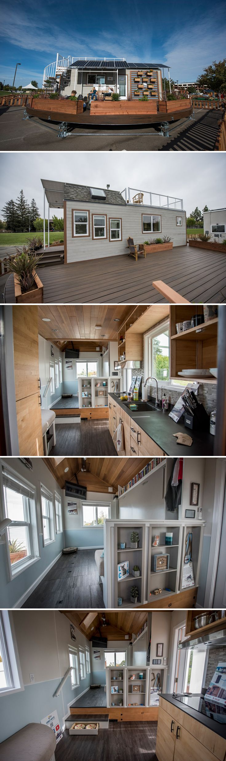 A 238 sq.ft. off-grid tiny house powered entirely by eight 330 Watt Sunmodule solar panels. First place winner of the 2016 SMUD Tiny House Competition.