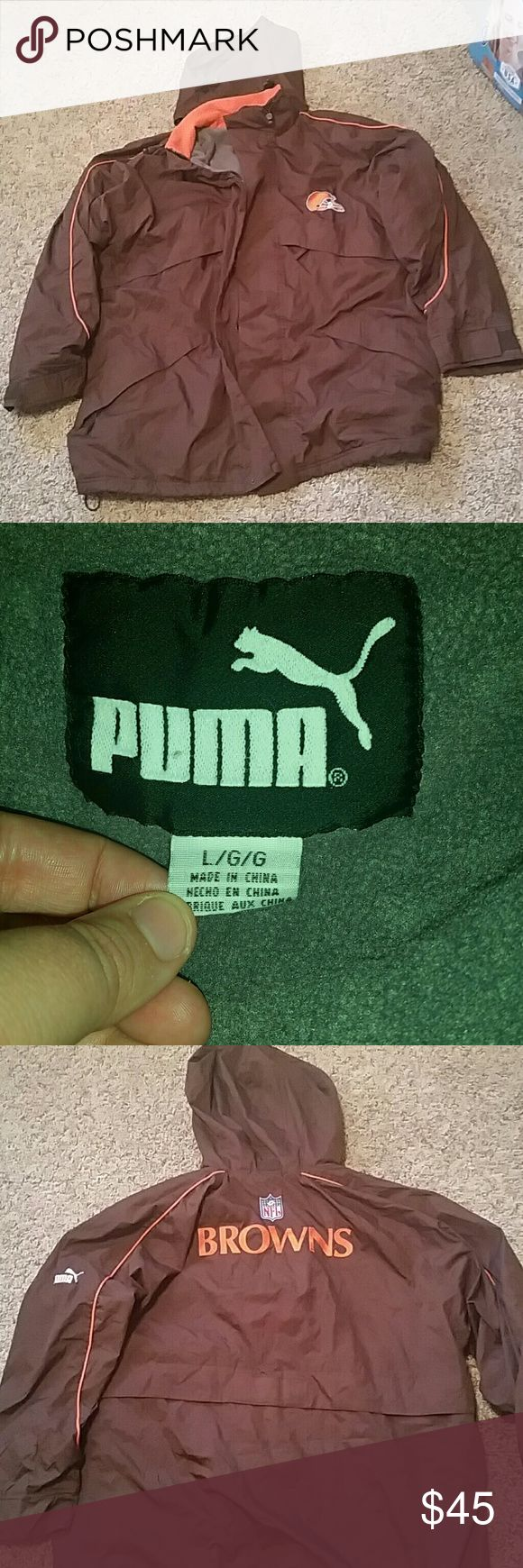 Puma size L NFL BROWNS jacket Puma size L NFL BROWNS jacket. Lined with fleece  ***Final Sale price! Puma Jackets & Coats