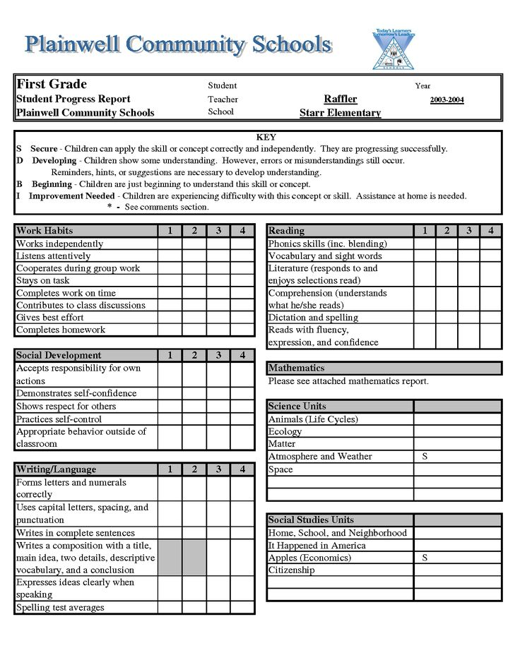 Report Card Template Excelxls Download Legal Documents Report