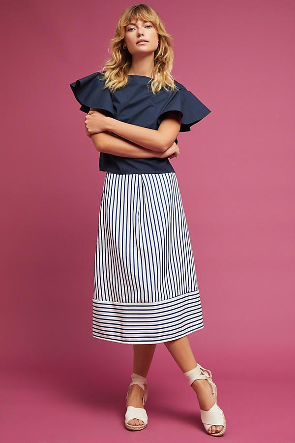 Slide View: 1: Freeport Striped Midi Skirt