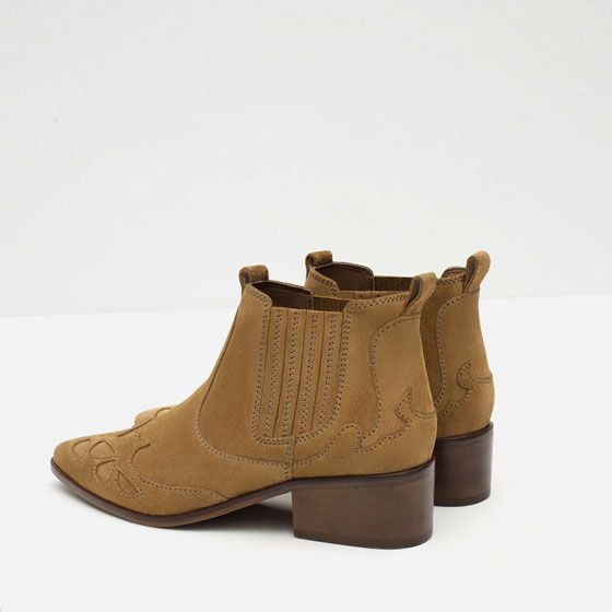 Image 5 of BLOCK HEEL LEATHER COWBOY ANKLE BOOTS from Zara