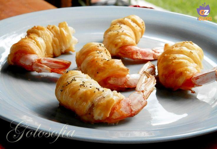 Gamberoni in sfoglia, ricetta buffet