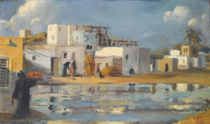 Le Canal de Mahmoudieh | Oil on panel, 27.5 x 45 cm, 1922 | Mahmoud Said, Origin: Egypt, Born in: Egypt | Barjeel Art Foundation