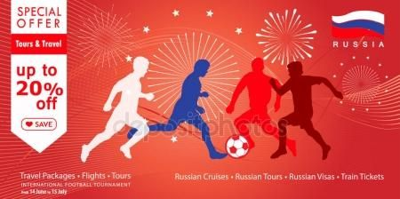2018 World Cup Russia football poster, Welcome to Russia abstract banners, fireworks, soccer players silhouettes, dynamic modern vector template. Sale discount gift card, voucher, poster, travel, advertising, promotion, abstract background.– stock illustration