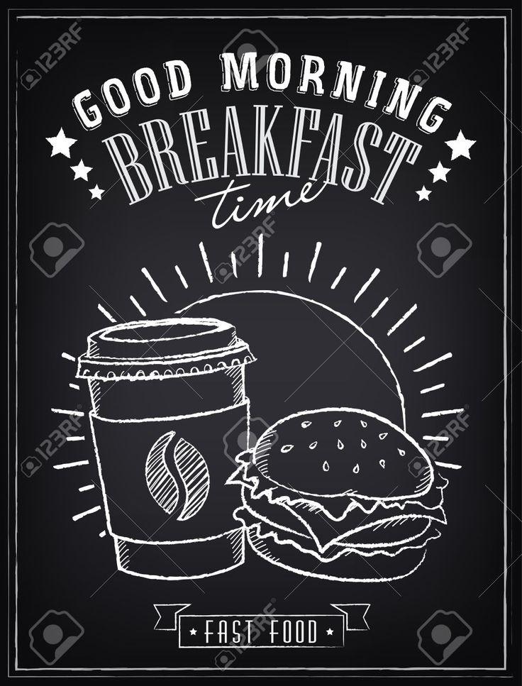 ビンテージのポスター。朝食の時間です。ハンバーガーとコーヒー ロイヤリティフリークリップアート、ベクター、ストックイラストレーション。. Image…