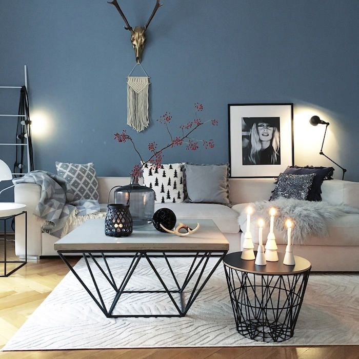 90 best blaue wand images on pinterest blue walls bedrooms and living room. Black Bedroom Furniture Sets. Home Design Ideas