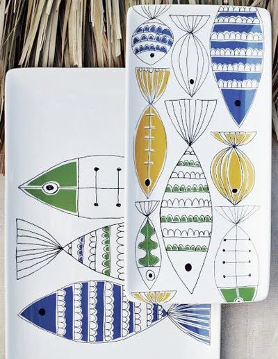 Fish plates I spied in West Elm catalog and here on Printpattern.blogspot.com
