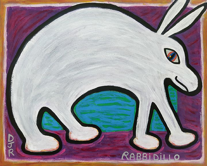 Painting of a rabbit which turned out to be more like the shape of an armadillo so I named it Rabbidillo.