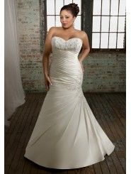 Satin Sweetheart Embroidered Bodice A-line Wedding Dress