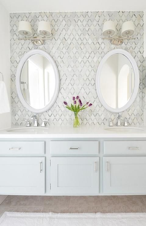 Carrara White Caribbean Green Diamond Marble Mosaic Tiles