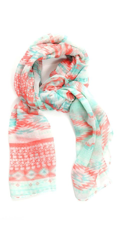 Mint + coral tribal scarf