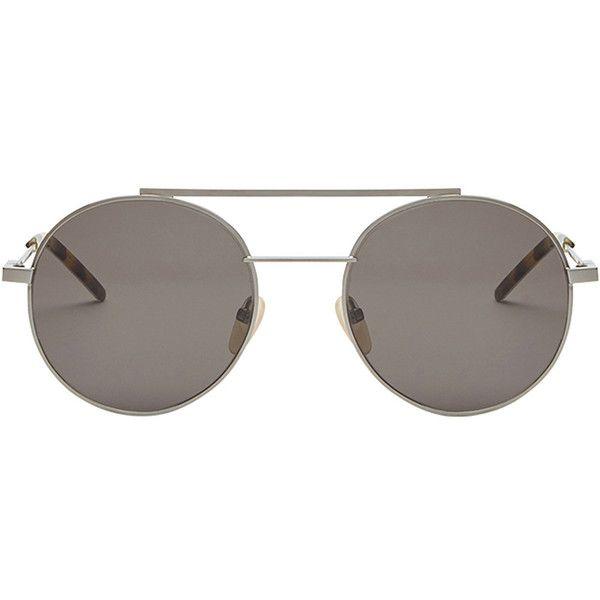 Fendi Eyewear Air sunglasses ($495) ❤ liked on Polyvore featuring men's fashion, men's accessories, men's eyewear, men's sunglasses, grey and mens aviator sunglasses